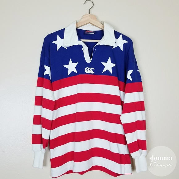 ad3e260a698 Canterbury of New Zealand Other - Vintage • USA Stars & Stripes Rugby Long  Sleeve L
